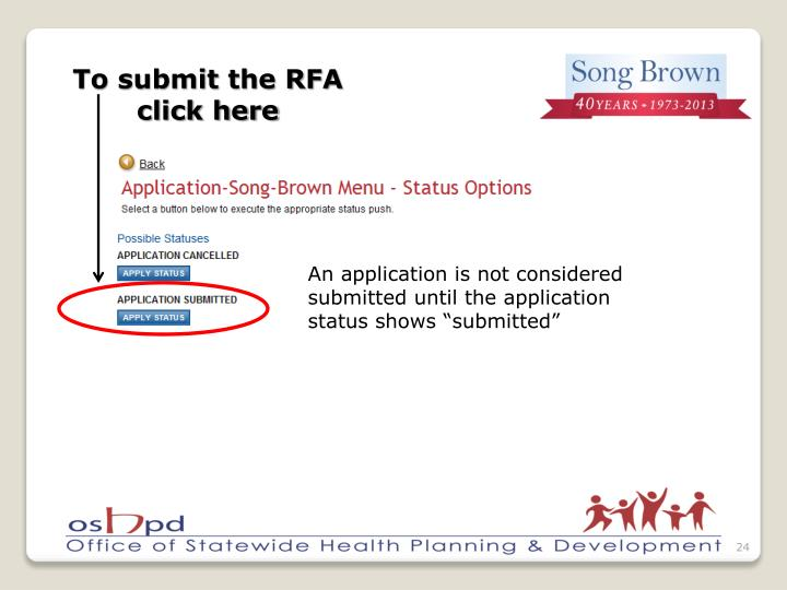 To submit the RFA click here