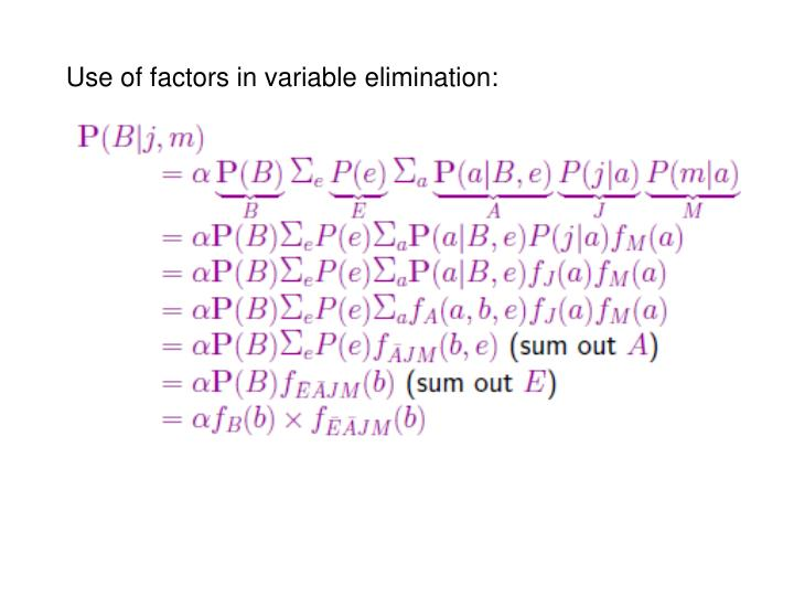 Use of factors in variable elimination: