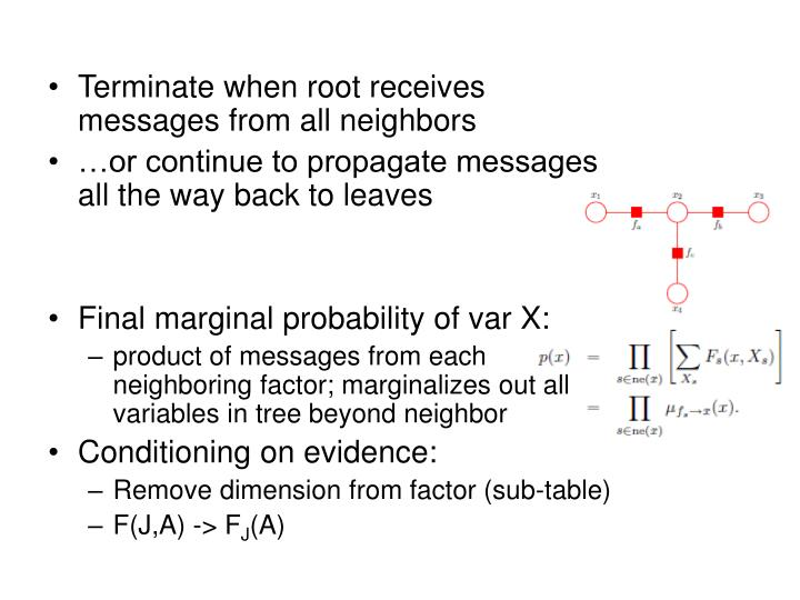 Terminate when root receives messages from all neighbors
