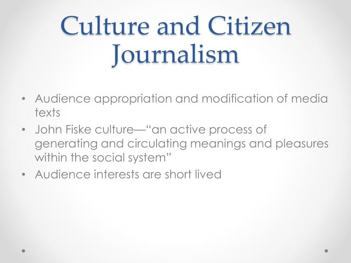 Culture and Citizen Journalism