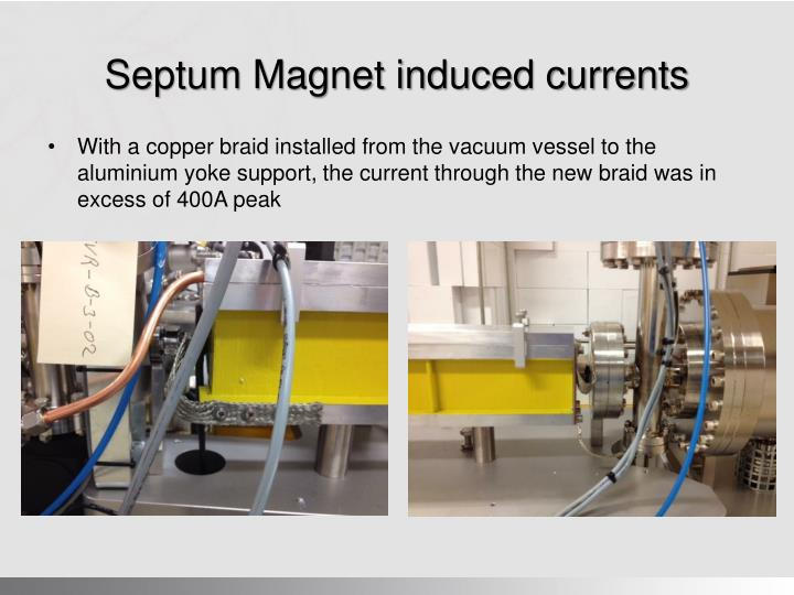 Septum Magnet induced currents