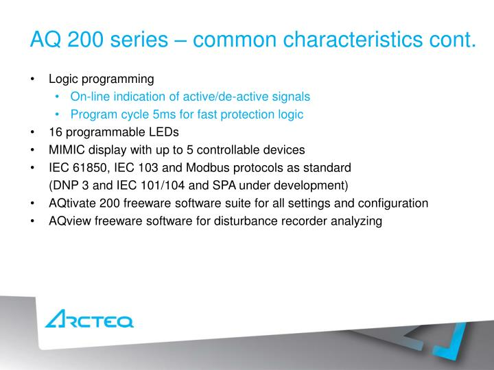 AQ 200 series – common characteristics cont.