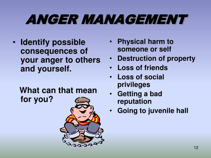 Identify possible consequences of your anger to others and yourself.