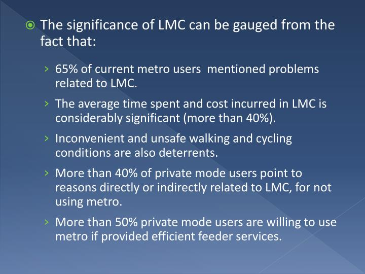 The significance of LMC can be gauged from the fact that: