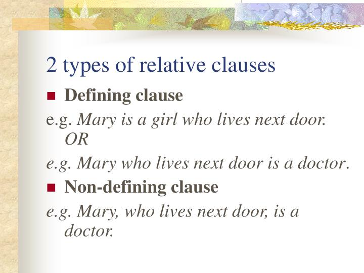2 types of relative clauses