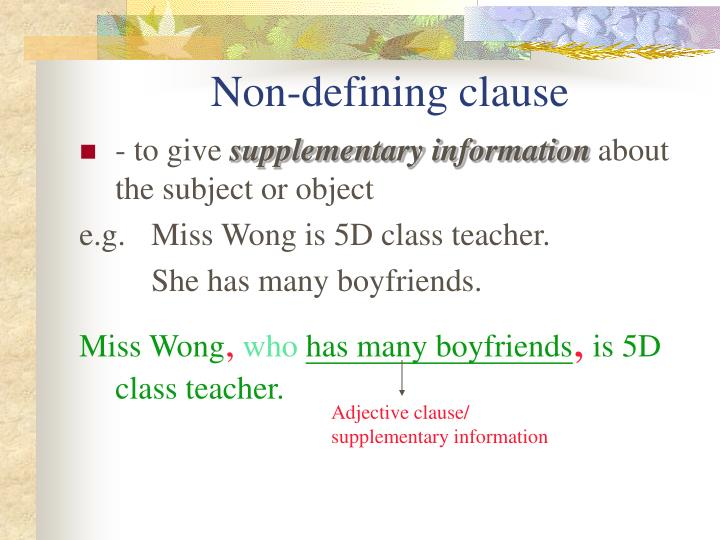 Non-defining clause