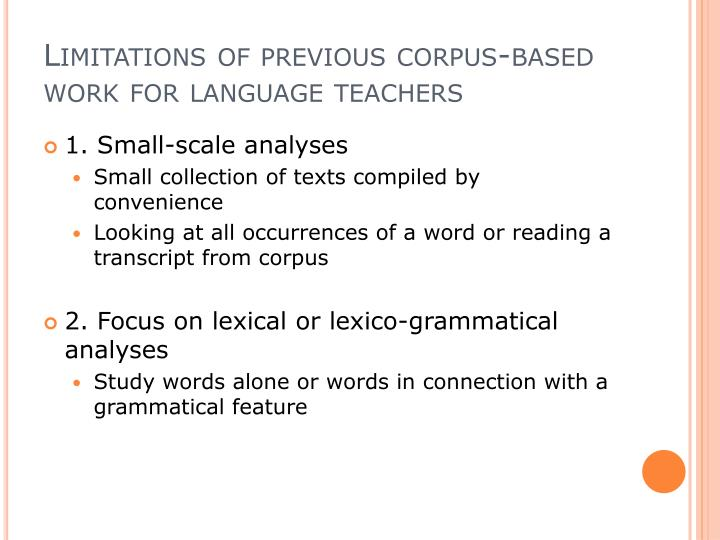 Limitations of previous corpus-based work for language teachers