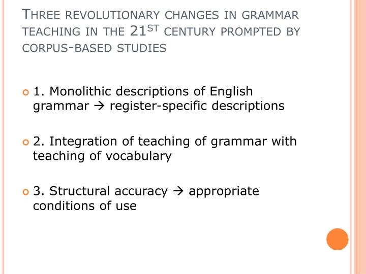 Three revolutionary changes in grammar teaching in the 21