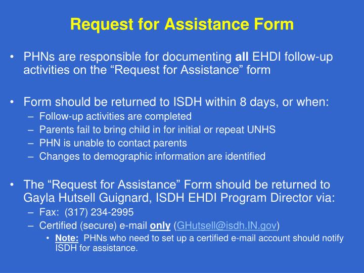 Request for Assistance Form