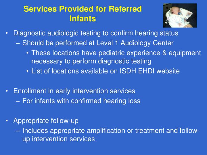 Services Provided for Referred Infants