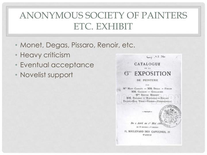 Anonymous society of painters etc. exhibit