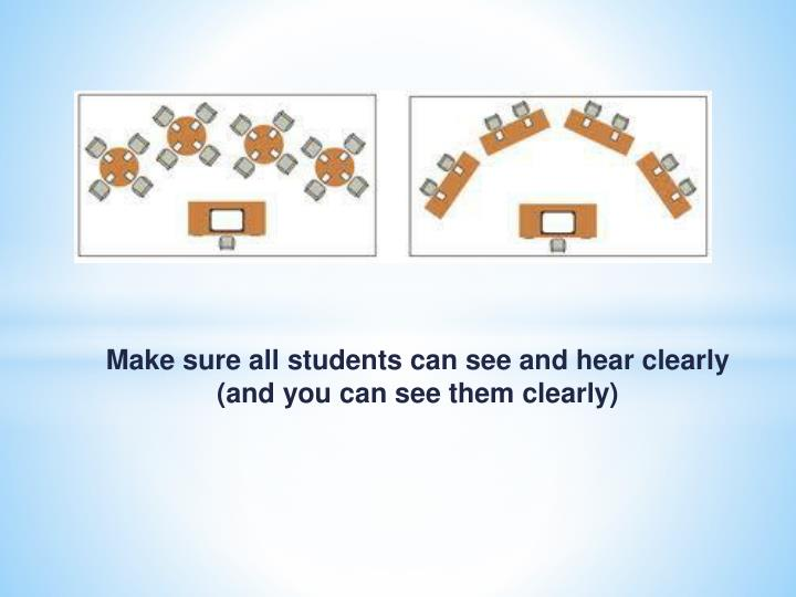 Make sure all students can see and hear clearly (and you can see them clearly)