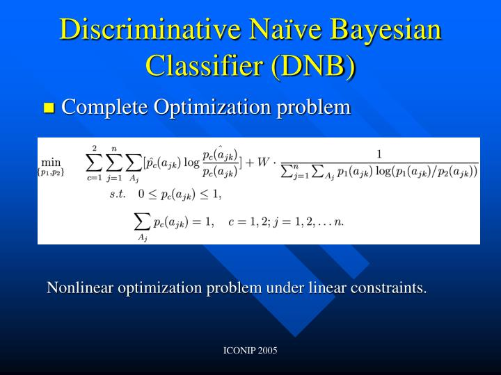 Discriminative Naïve Bayesian Classifier (DNB)