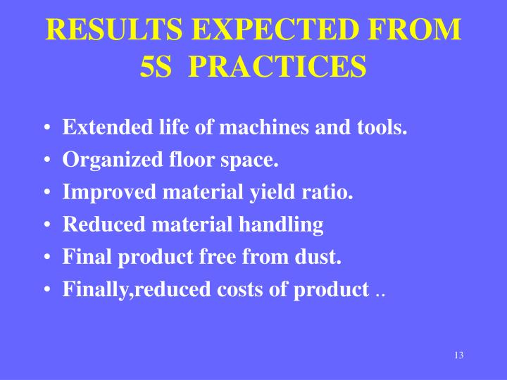 RESULTS EXPECTED FROM 5S  PRACTICES
