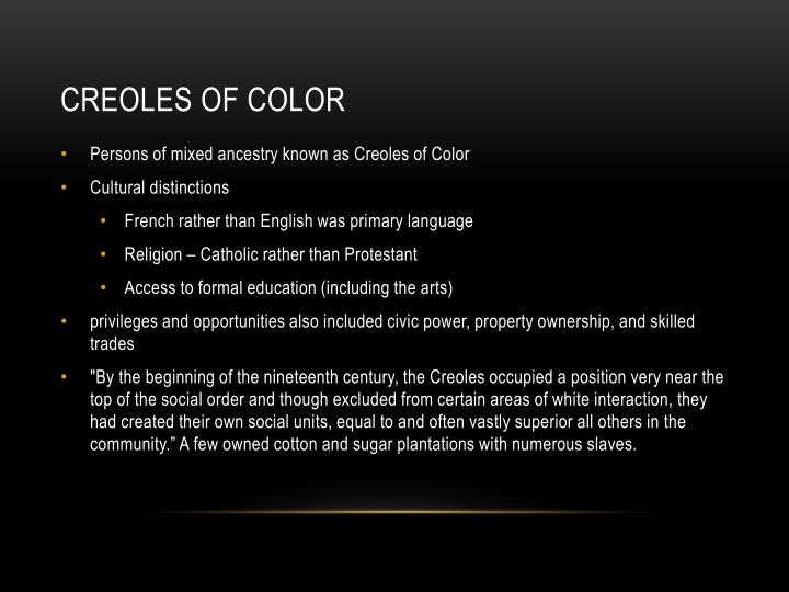 Persons of mixed ancestry known as Creoles of Color