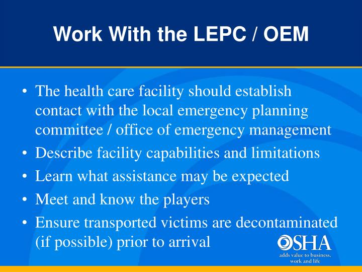 Work With the LEPC / OEM
