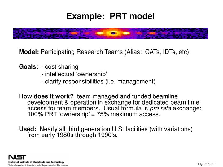 Example:  PRT model