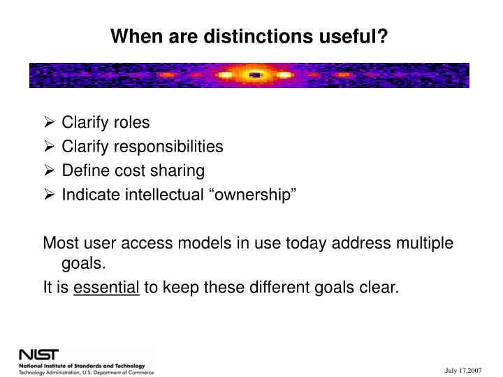 When are distinctions useful?