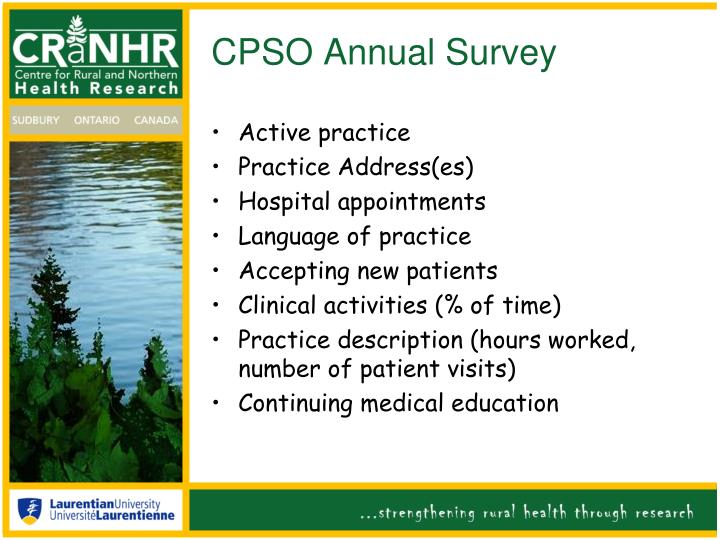 CPSO Annual Survey