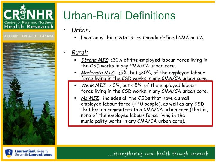 Urban-Rural Definitions