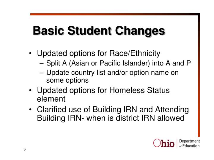 Basic Student Changes