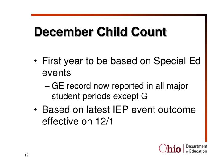 December Child Count