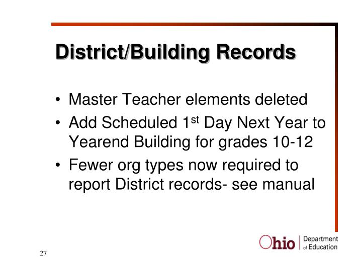 District/Building Records