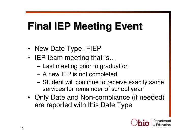 Final IEP Meeting Event
