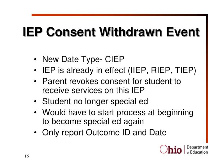 IEP Consent Withdrawn Event