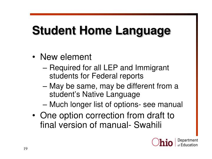 Student Home Language