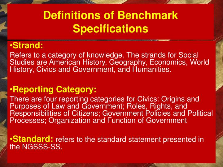 Definitions of Benchmark Specifications