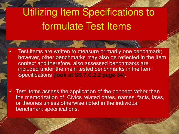 Utilizing Item Specifications to formulate Test Items