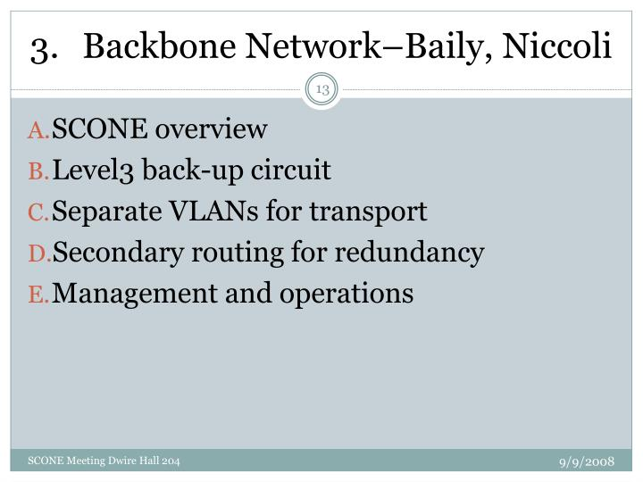 Backbone Network–Baily, Niccoli