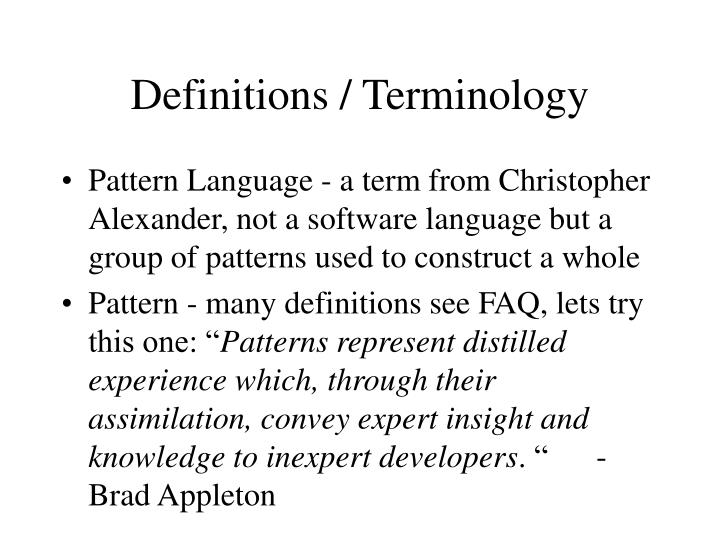 Definitions / Terminology