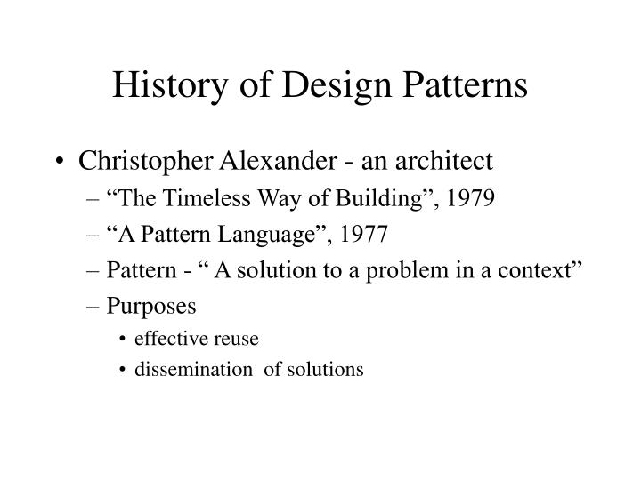 History of Design Patterns