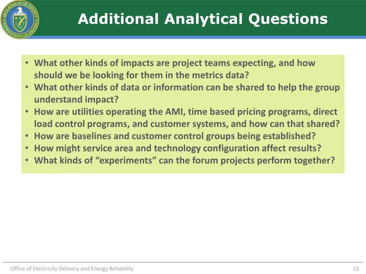 Additional Analytical Questions