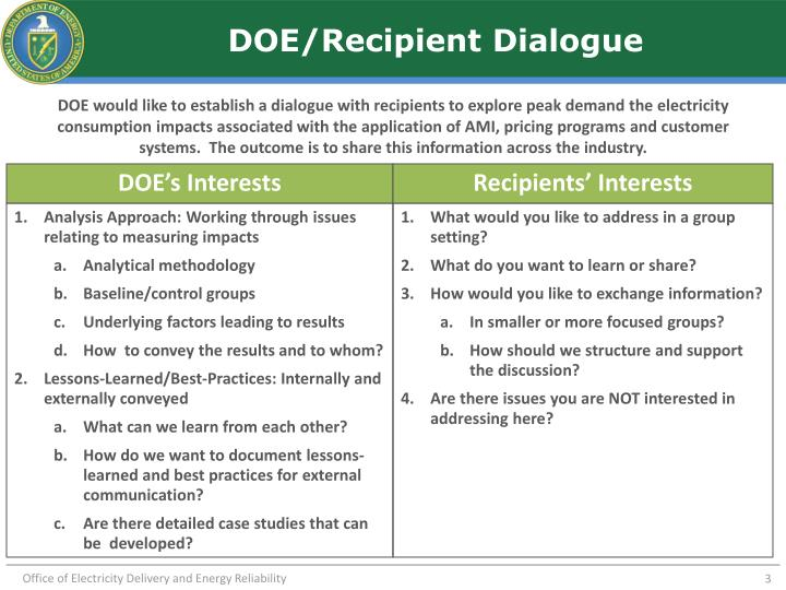 DOE/Recipient Dialogue