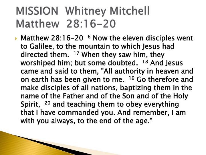 MISSION  Whitney Mitchell