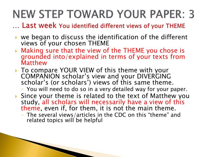 NEW STEP TOWARD YOUR PAPER: 3