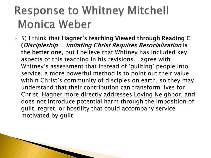 Response to Whitney Mitchell