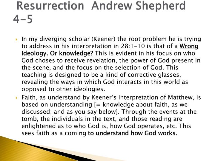 Resurrection  Andrew Shepherd