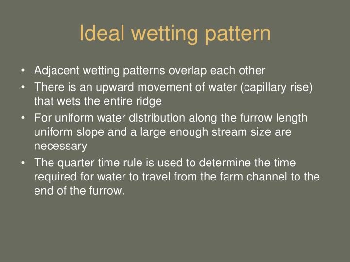 Ideal wetting pattern