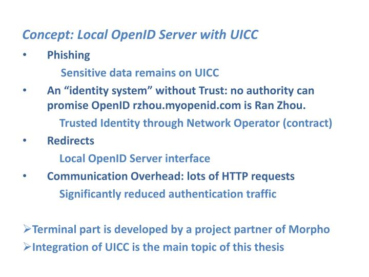 Concept: Local OpenID Server with UICC
