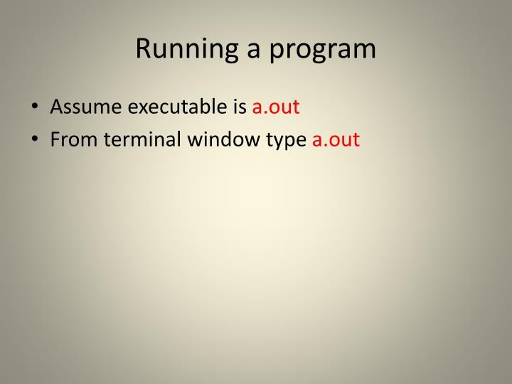 Running a program