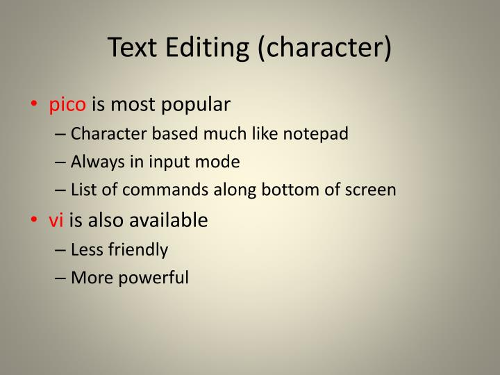Text Editing (character)
