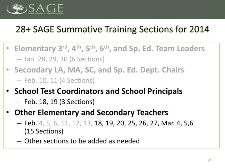 28+ SAGE Summative Training Sections for 2014