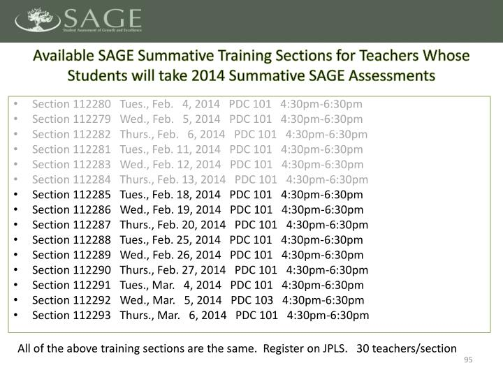 Available SAGE Summative Training Sections for Teachers Whose Students will take 2014 Summative SAGE Assessments