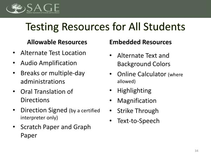 Testing Resources for All Students