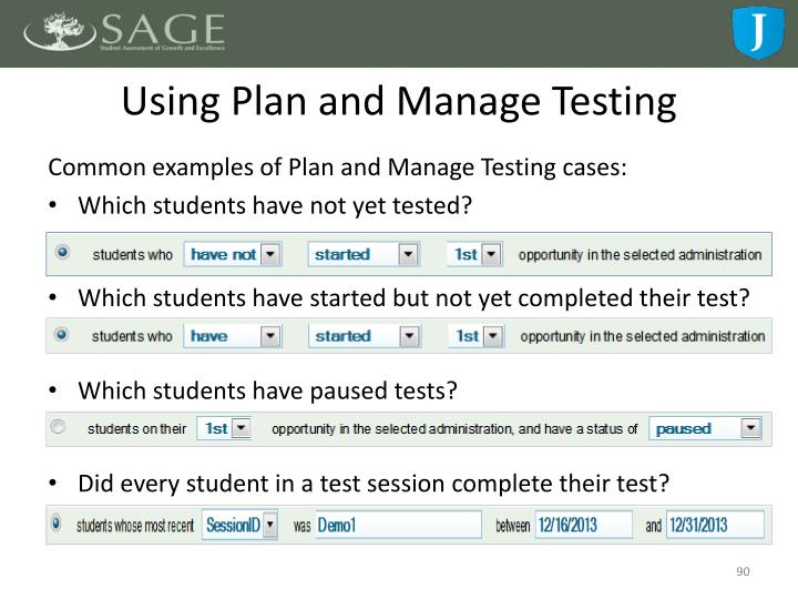 Using Plan and Manage Testing