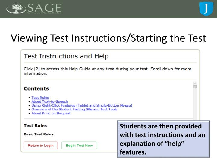 Viewing Test Instructions/Starting the Test
